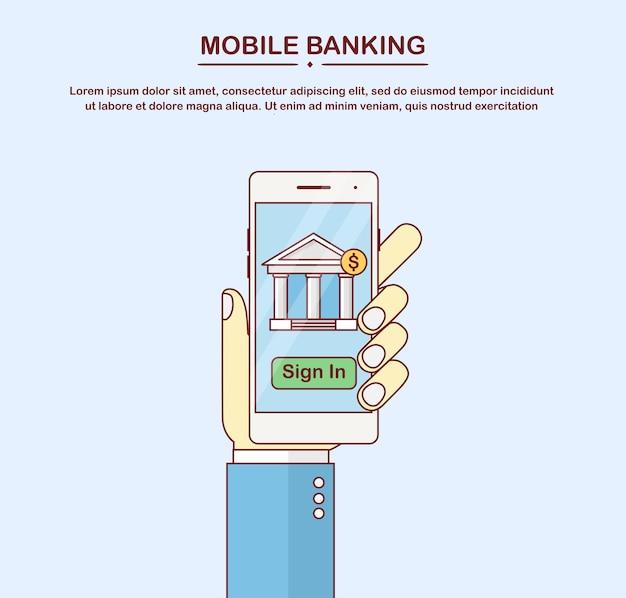 Banca en línea móvil. transacción de dinero, concepto de tecnología empresarial. pago con teléfono inteligente. mano sostiene teléfono blanco aislado