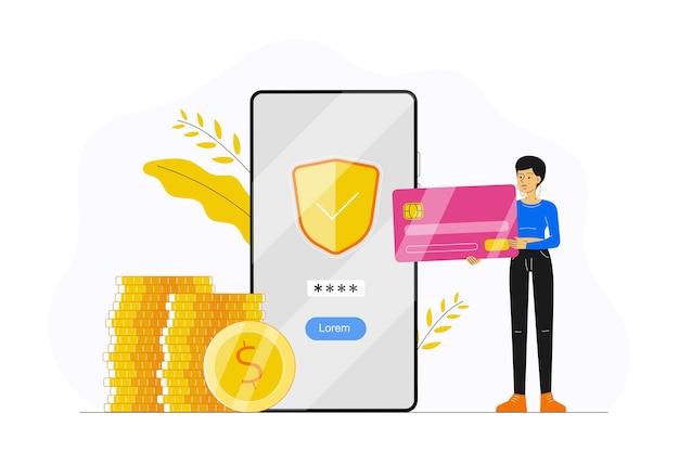 Banca en línea con una mujer sosteniendo una tarjeta de crédito y realizando un pago con la aplicación de teléfono inteligente