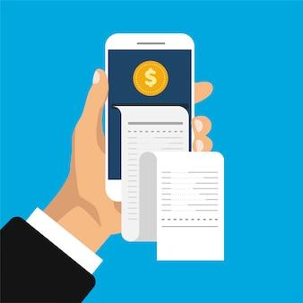 Banca móvil y pago. la mano sostiene el teléfono inteligente con recibo y monedas en estilo isométrico de moda.