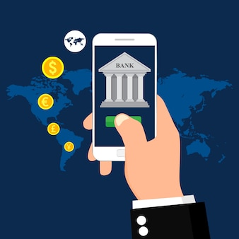 Banca móvil y pago móvil. ilustración para la transacción de dinero. plano .