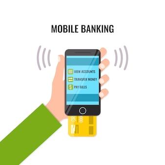 Banca móvil en la pantalla del teléfono inteligente con tarjeta de crédito en la mano del hombre.
