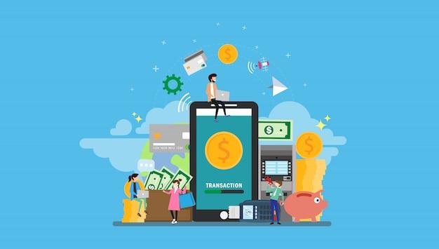 Banca móvil con personas pequeñas