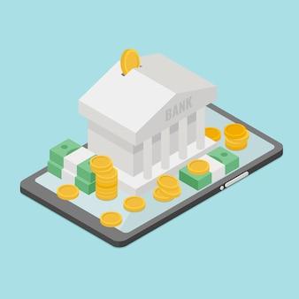 Banca móvil y control de dinero en internet. banco en el teléfono móvil, en dinero de fondo.