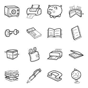 Banca en paquete de iconos dibujados a mano