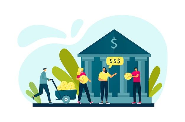 Banca personas invirtiendo dinero en efectivo, banco y finanzas planas.
