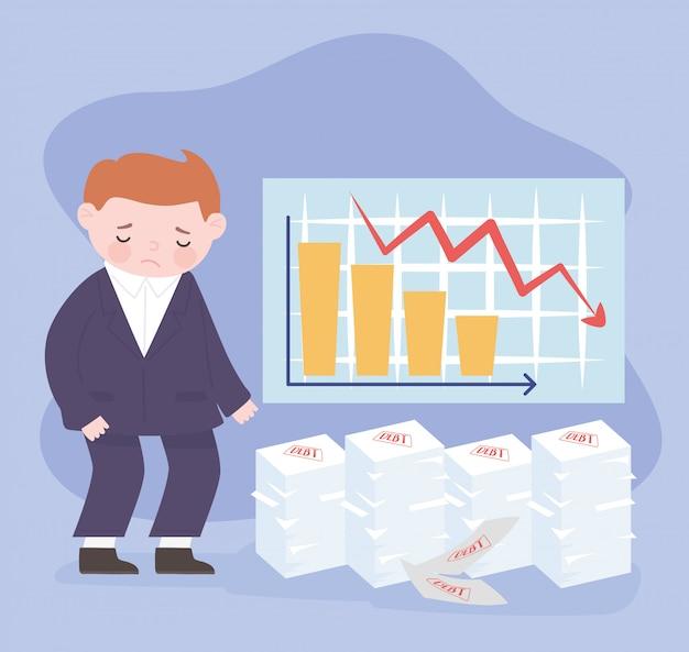 Bancarrota empresario triste diagrama financiero flecha hacia abajo y documentos de deuda crisis empresarial