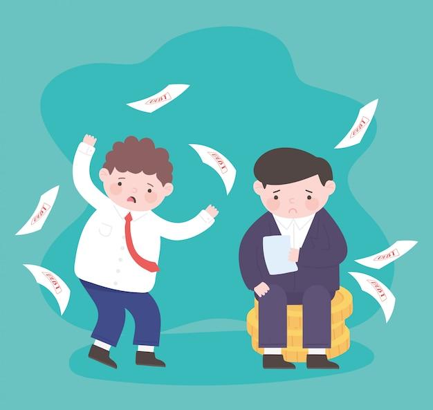 Bancarrota fallin papeles de deuda y tristes empresarios sobre monedas crisis financiera empresarial