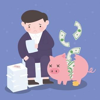 Bancarrota triste empresario hucha billetes dinero negocio crisis financiera