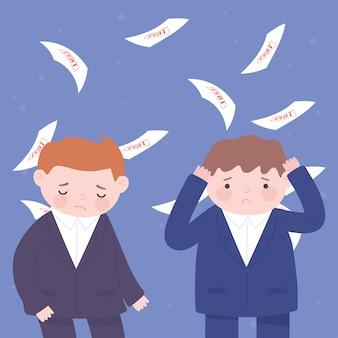 Bancarrota tristes empresarios cayendo muchos papeles de deuda crisis financiera empresarial