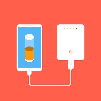 Banco de energía conectado al teléfono inteligente por cable usb
