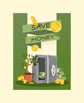 Banco financiero o caja de dinero seguro con ahorros de inversión y monedas ilustración de fondo
