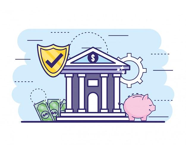 Banco de finanzas con seguridad shiel y cuentas con alcancía