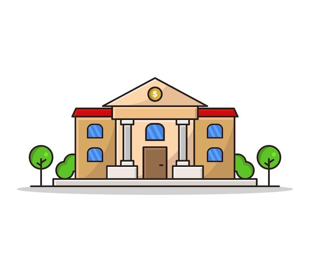 Banco ilustrado de dibujos animados