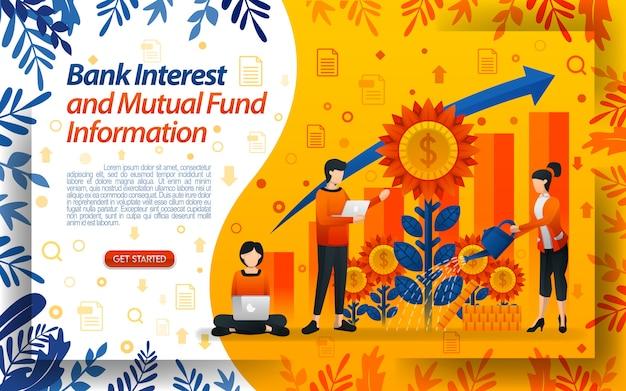 Banco de interés y fondo mutuo con ilustraciones regando flores.