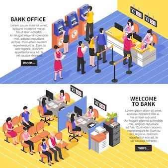 Banco oficina banners isométricos horizontales