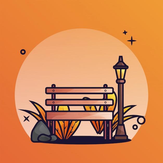Banco de parque otoño