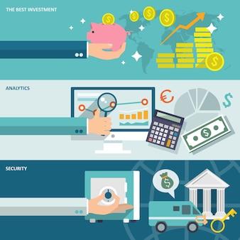 Banco de servicio de mejor inversión de seguridad analítica banners horizontales establecer ilustración vectorial aislado