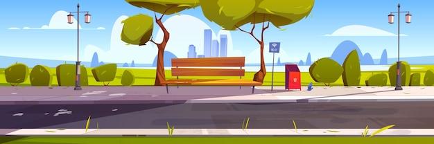 Banco con wifi gratis en parque, lugar al aire libre con zona de acceso público hotspot, internet inalámbrico.