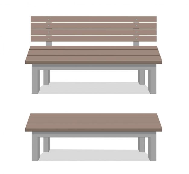 Bancos aislados sobre fondo blanco. construcción de madera.