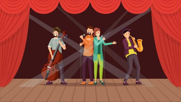 Banda de jazz concierto plano