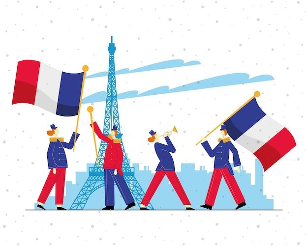 Banda de marcha de los parisinos en la ciudad de parís