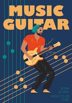 Banda de música de carácter, jazz, rock, blues, cartel con estilo, concepto en línea de la web.