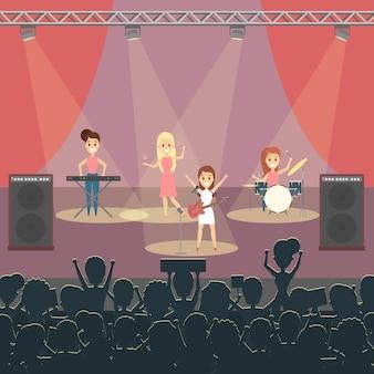 Banda de música en concierto en el escenario con pop.