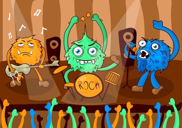 Banda de música de concierto de rock de monstruos de dibujos animados