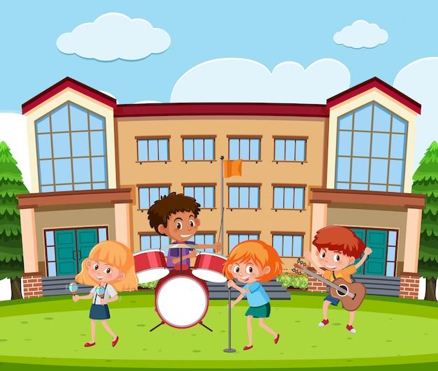 Banda de música estudiantil en la escuela