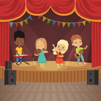 Banda de música infantil en escena de concierto.