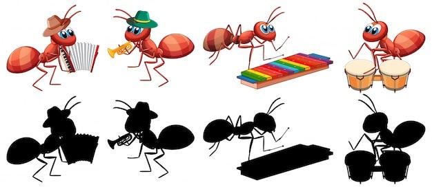 Banda musical de hormigas con su silhoulet