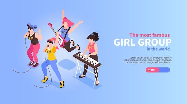 Banda de pop rock del grupo de chicas con una ilustración de actuación