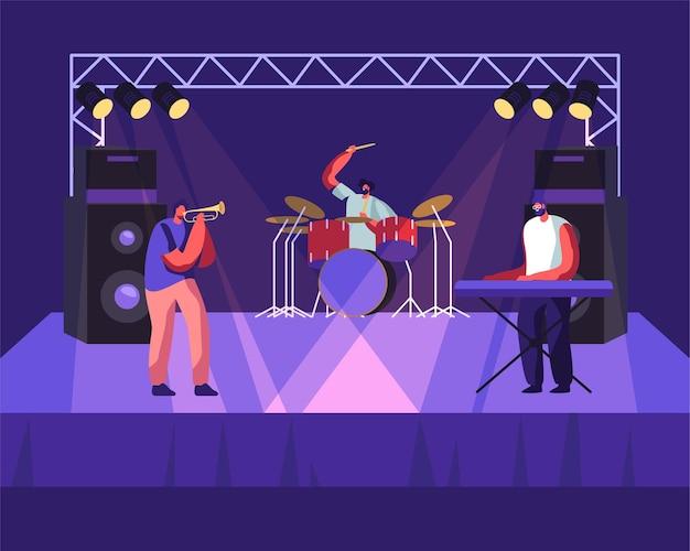 Banda de rock actuando en el escenario, baterista, trompetista y hombre tocando sintetizador de piano eléctrico, concierto musical.