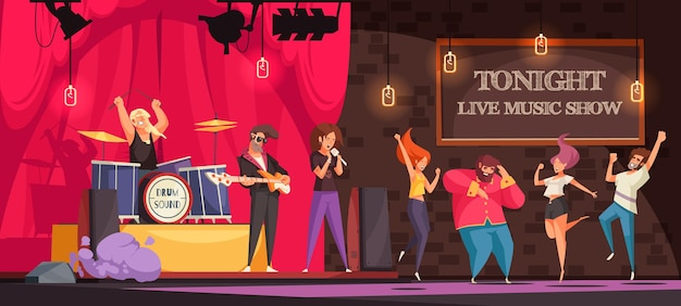 Banda de rock actuando en el escenario y gente bailando en un espectáculo de música en vivo, ilustración de dibujos animados