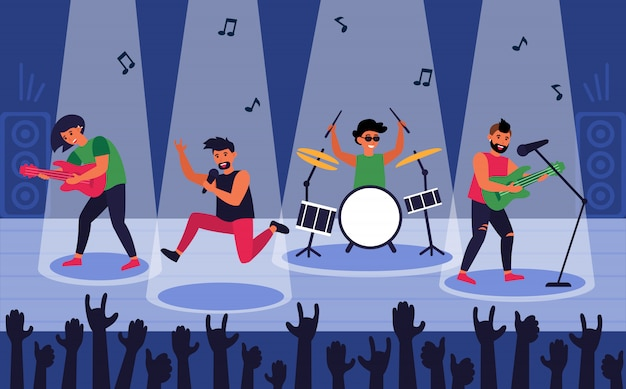 Banda de rock en escena para actuación
