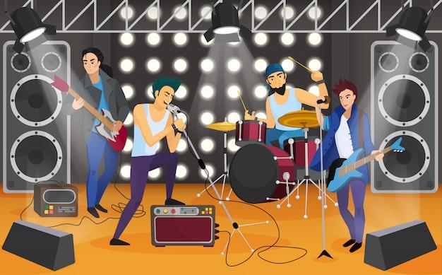 Banda de rock en el escenario