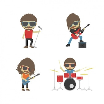 Banda de rock tocando instrumentos