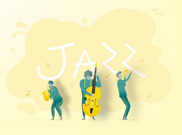 Banda tocando música jazz en papel estilo art.
