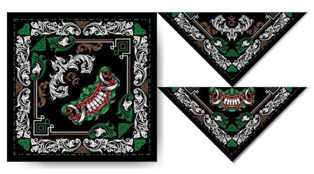 Bandana balinesa máscara demonio verde y blanco diseño vintage