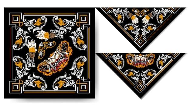 Bandana japón tigre máscara diseño vintage