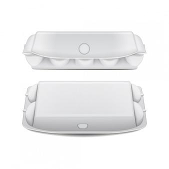 Bandeja de caja para huevos maqueta plantilla vectorial, contenedores de concha vacíos blancos.