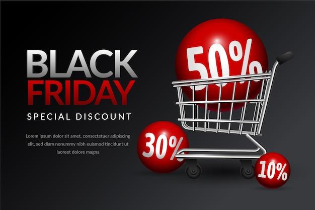 Bandeja de compras de viernes negro estilo realista