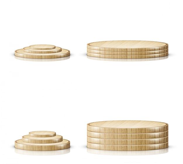 Bandeja de madera para cortar, etapa de podio realista