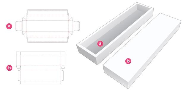 Bandeja rectangular larga con plantilla troquelada de tapa