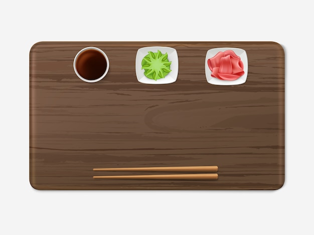 Bandeja de sushi con condimentos set cocina japonesa