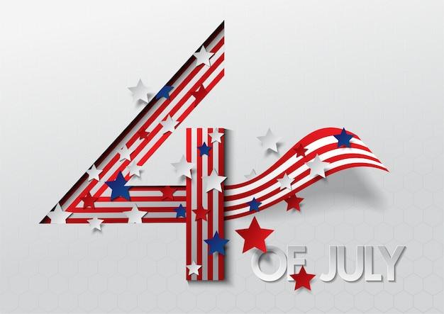 Bandera 4 de plantilla de banner de celebración día de la independencia de estados unidos