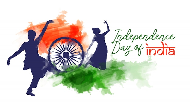 Bandera de acuarela de día de la independencia de india