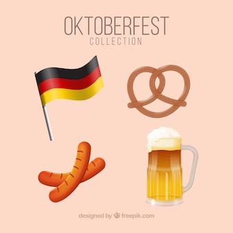 Bandera alemana, cerveza, pretzel y salchichas