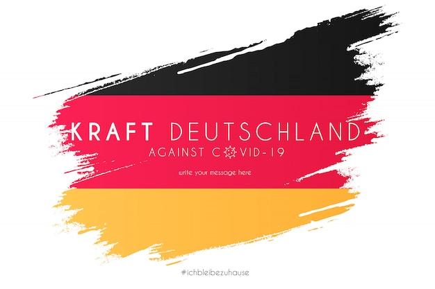 Bandera alemana en salpicaduras de acuarela con mensaje de soporte