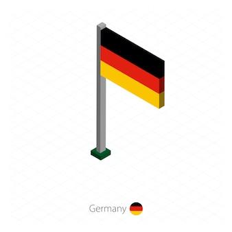 Bandera de alemania en el asta de la bandera en dimensión isométrica.